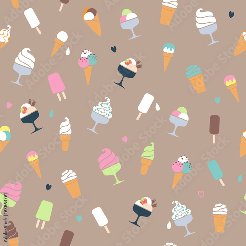 Ice cream pattern - beige background.