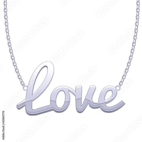 Silver LOVE word pendant on chain.