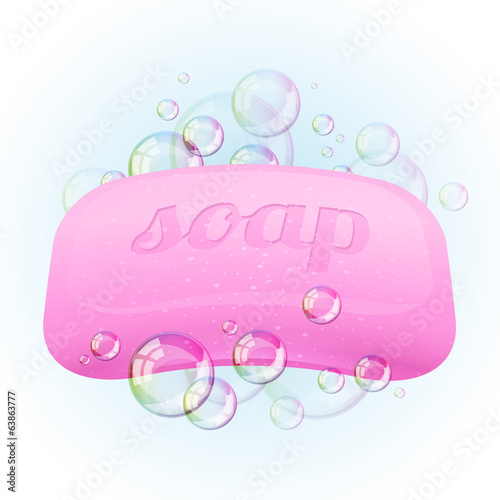 Soap bar with bubbles - vector illustration.