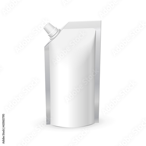 White Blank Foil Food Or Drink Bag Packaging With Lid