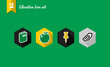 Education flat icons set collection