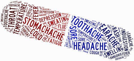 Word cloud popular ailment or sickness related