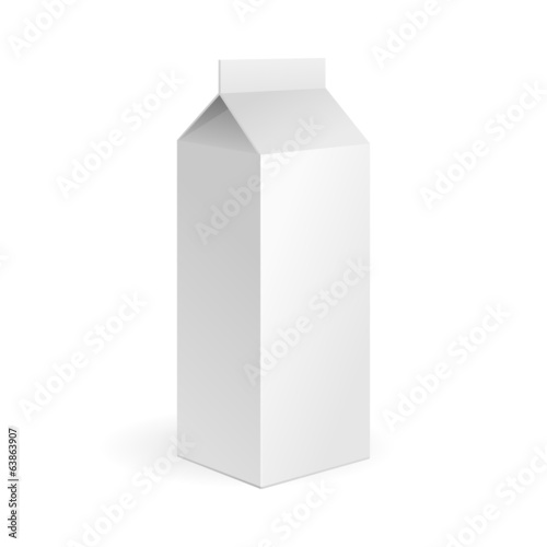 Milk, Juice Carton Package Blank White On White Background