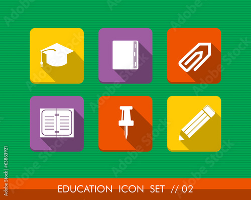 Education colorful flat icons set collection