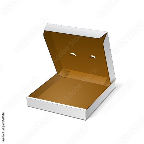 Open White Blank Carton Pizza Box On White Background