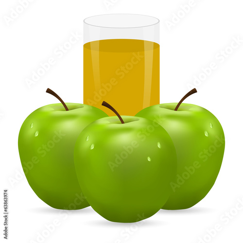 apple and glass of juice