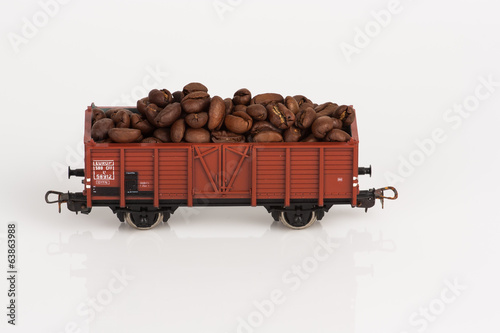 toy rail car with coffee beans two