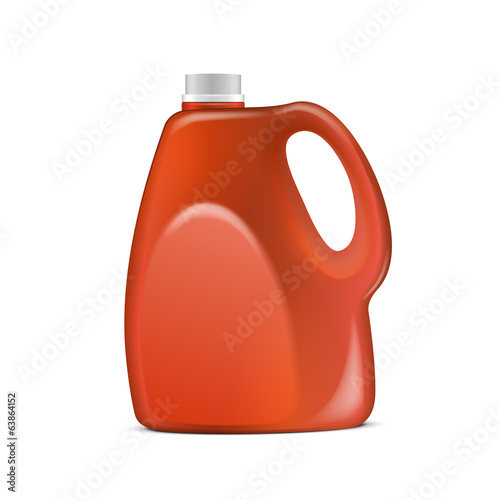Red Plastic Jerrycan On White Background Isolated