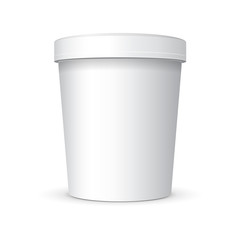 White Food Plastic Tub Bucket Container For Dessert