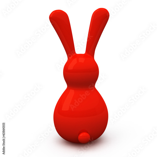 Red Easter bunny, 3d