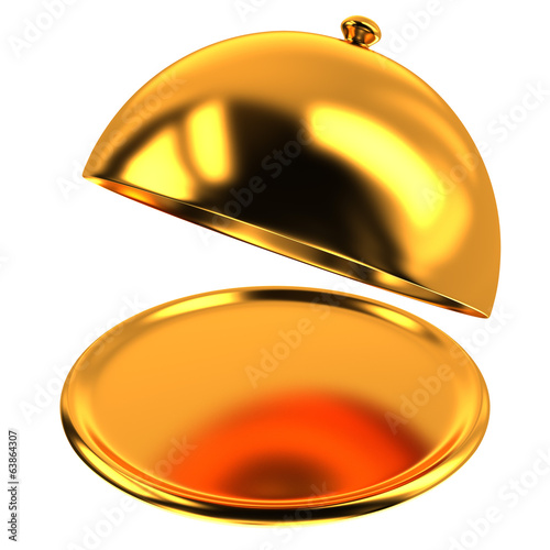 Opened golden empty restaurant cloche, 3d