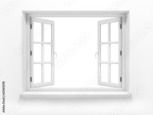 Opened plastic window. 3d render