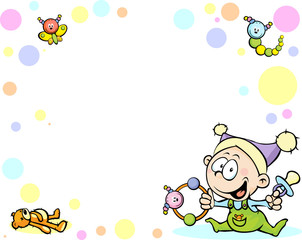cool baby background with funny baby, toys and abstract dots