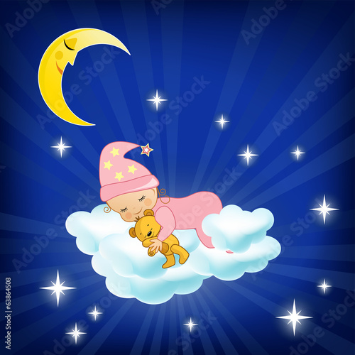 Baby sleeping on the cloud.