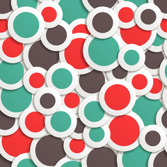 seamless pattern of colored circles with shadow