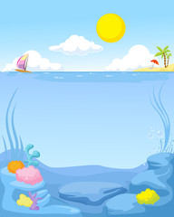 summer sea background - vector illustration