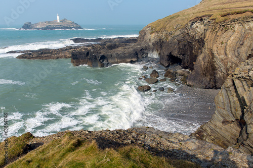 Cornish coast Godrevy St Ives Bay Cornwall England UK