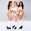 Three enticing female football players