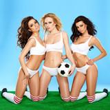 Three beautiful athletic women in lingerie