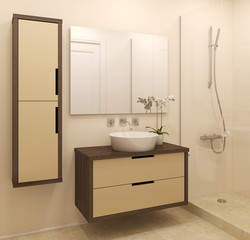 Modern bathroom interior.