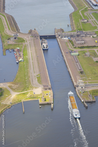 Leinwandbild Motiv Dutch sea lock at IJmuiden, The Netherlands from above