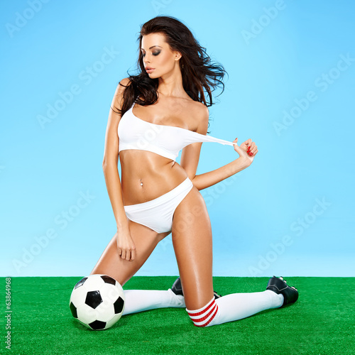 Sensual gorgeous brunette soccer player