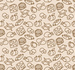 Abstract seamless pattern with food.