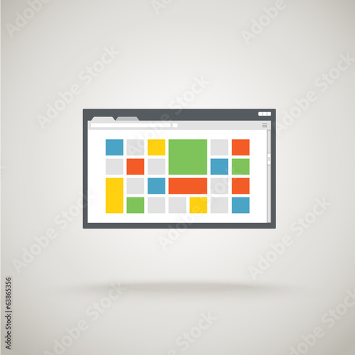 Browser window with color tile. Design template