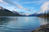 Jasper national park, Canada, sunset in Maligne lake poster