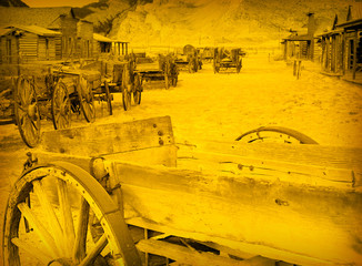 Old Wooden Wagons in a Ghost Town, Cody, Wyoming, USA