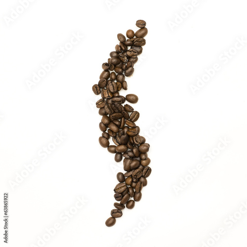 Coffee beans are stacked in the shape of curve