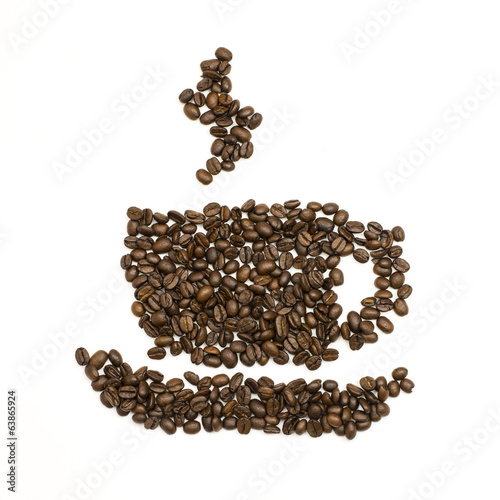 Coffee beans are stacked in the shape of cup