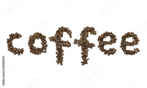 Coffee beans stacked to form the word coffee