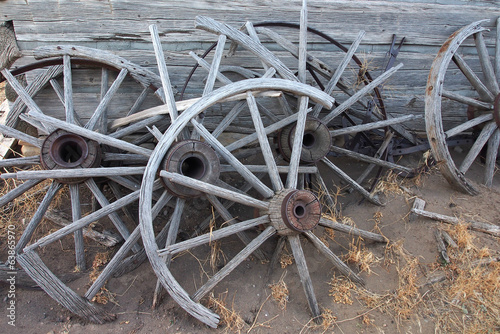Old broken wood wheels