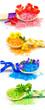 Leinwandbild Motiv Wooden spoons with color bath salt