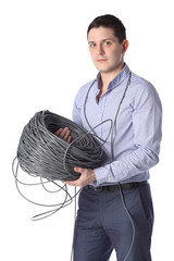man isolated on white holding a spool wire