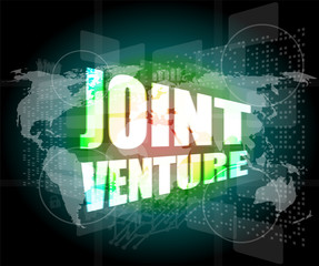 joint venture words on digital screen background with world map