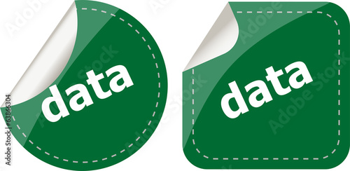 data word stickers web button set, label, icon