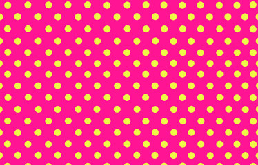the yellow polka dot with pink background