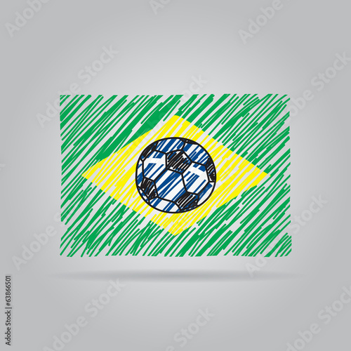 Vector Brazilian flag with ball