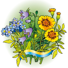 Vector bouquet of flowers for the Ukrainian folk wreaths