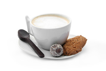 cup of coffee with chocolate candy, cookies and chocolate coffee