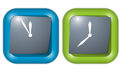 set of two icons with paper and clock