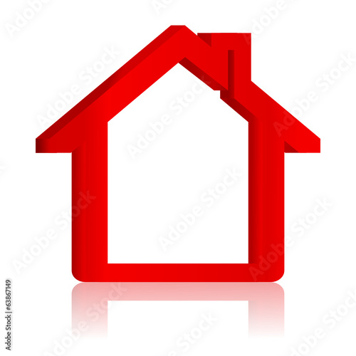 Red house with reflection in the mirror - vector