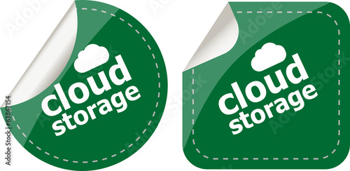 cloud storage - cloud computing icon stickers set