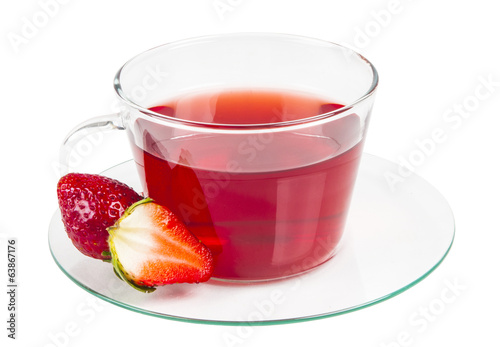 Red tea and fresh strawberry