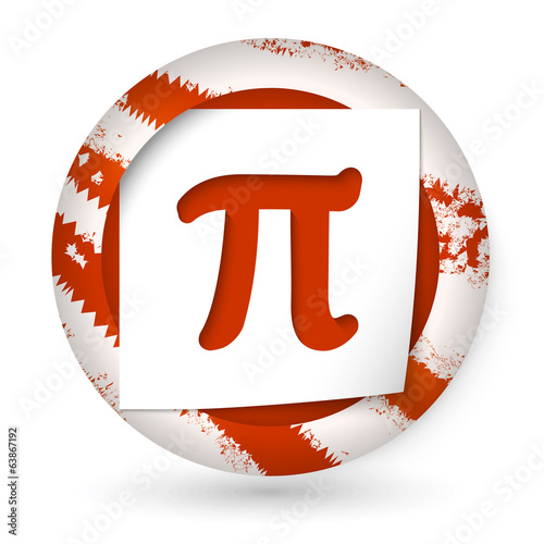 red abstract icon with paper and pi sign
