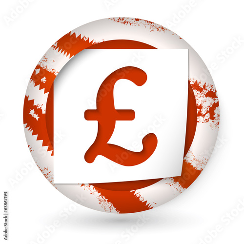 red abstract icon with paper and pound sign