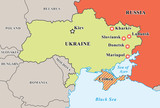 Ukraine crisis map. Pro-russians protests in the eastern cities. poster