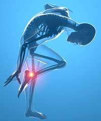 Corpo umano con dolore alla caviglia